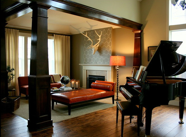 colored leather piano room